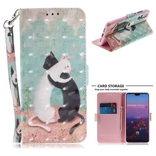 Black and White Cat 3D Painted Leather Wallet Phone Case for Huawei P20 Pro