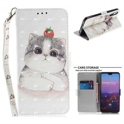 Cute Tomato Cat 3D Painted Leather Wallet Phone Case for Huawei P20 Pro