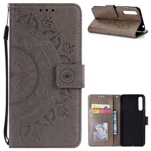 Intricate Embossing Datura Leather Wallet Case for Huawei P20 Pro - Gray
