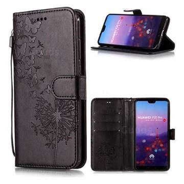 Intricate Embossing Dandelion Butterfly Leather Wallet Case for Huawei P20 Pro - Black