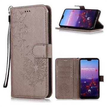Intricate Embossing Dandelion Butterfly Leather Wallet Case for Huawei P20 Pro - Gray