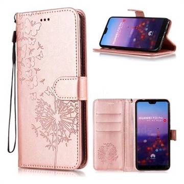 Intricate Embossing Dandelion Butterfly Leather Wallet Case for Huawei P20 Pro - Rose Gold