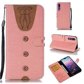 Ladies Bow Clothes Pattern Leather Wallet Phone Case for Huawei P20 Pro - Pink