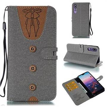 Ladies Bow Clothes Pattern Leather Wallet Phone Case for Huawei P20 Pro - Gray