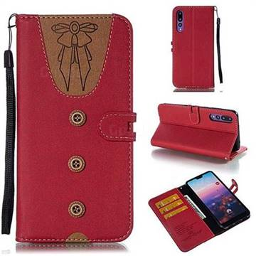 Ladies Bow Clothes Pattern Leather Wallet Phone Case for Huawei P20 Pro - Red