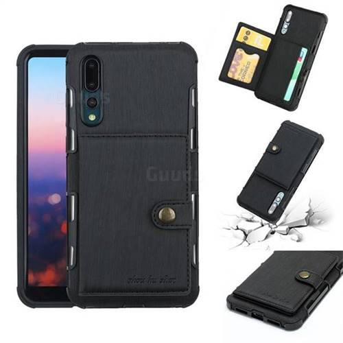 Brush Multi-function Leather Phone Case for Huawei P20 Pro - Black