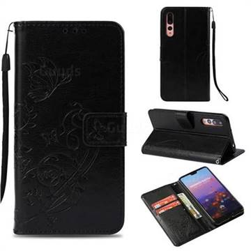 Embossing Butterfly Flower Leather Wallet Case for Huawei P20 Pro - Black