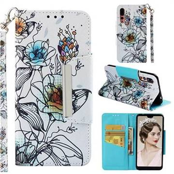 Fotus Flower Big Metal Buckle PU Leather Wallet Phone Case for Huawei P20 Pro