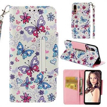 Colored Butterfly Big Metal Buckle PU Leather Wallet Phone Case for Huawei P20 Pro