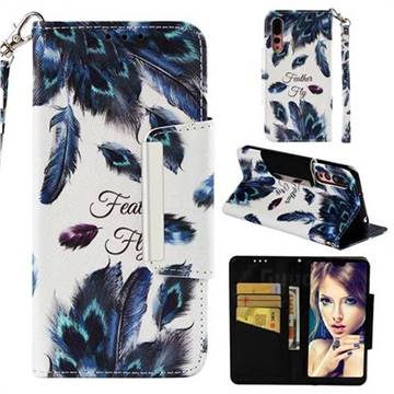 Peacock Feather Big Metal Buckle PU Leather Wallet Phone Case for Huawei P20 Pro