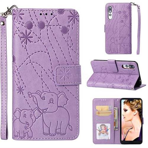 Embossing Fireworks Elephant Leather Wallet Case for Huawei P20 Pro - Purple