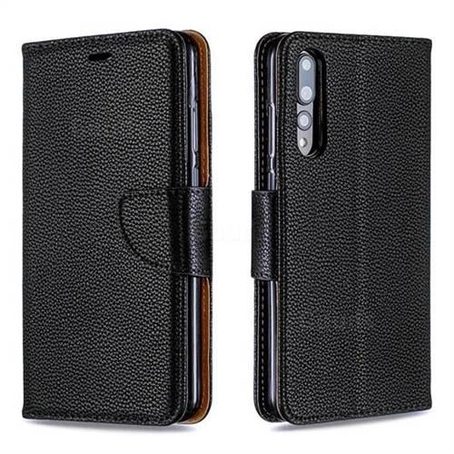 Classic Luxury Litchi Leather Phone Wallet Case for Huawei P20 Pro - Black