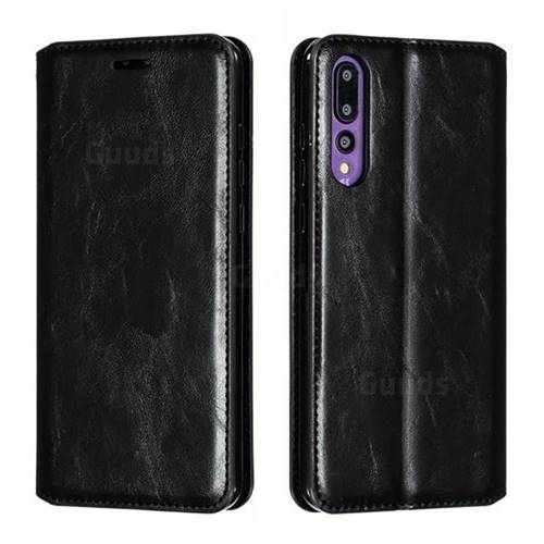 Retro Slim Magnetic Crazy Horse PU Leather Wallet Case for Huawei P20 Pro - Black