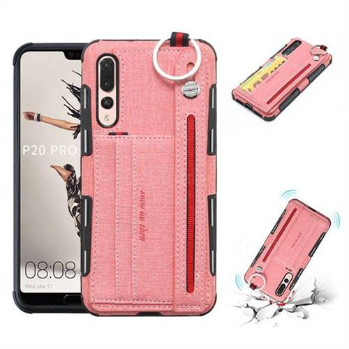 British Style Canvas Pattern Multi-function Leather Phone Case for Huawei P20 Pro - Pink