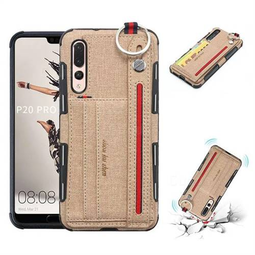 British Style Canvas Pattern Multi-function Leather Phone Case for Huawei P20 Pro - Khaki