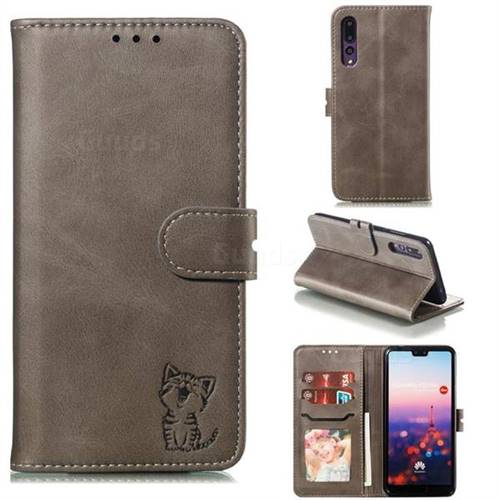 Embossing Happy Cat Leather Wallet Case for Huawei P20 Pro - Gray