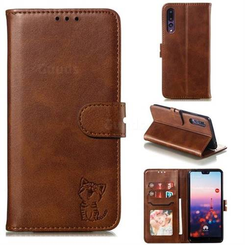 Embossing Happy Cat Leather Wallet Case for Huawei P20 Pro - Brown