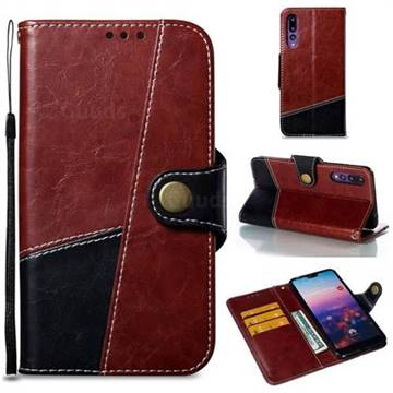 Retro Magnetic Stitching Wallet Flip Cover for Huawei P20 Pro - Dark Red