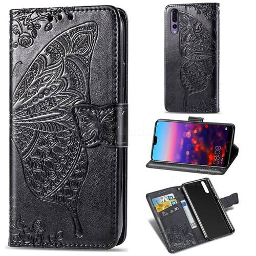Embossing Mandala Flower Butterfly Leather Wallet Case for Huawei P20 Pro - Black