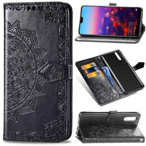 Embossing Imprint Mandala Flower Leather Wallet Case for Huawei P20 Pro - Black