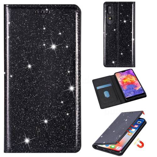 Ultra Slim Glitter Powder Magnetic Automatic Suction Leather Wallet Case for Huawei P20 Pro - Black