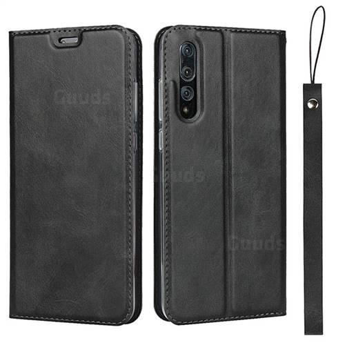 Calf Pattern Magnetic Automatic Suction Leather Wallet Case for Huawei P20 Pro - Black