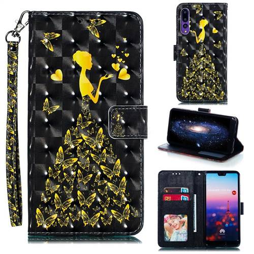Golden Butterfly Girl 3D Painted Leather Phone Wallet Case for Huawei P20 Pro