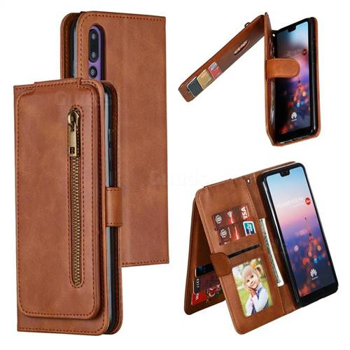 Multifunction 9 Cards Leather Zipper Wallet Phone Case for Huawei P20 Pro - Brown