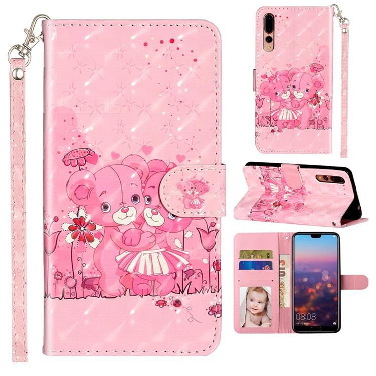 Pink Bear 3D Leather Phone Holster Wallet Case for Huawei P20 Pro