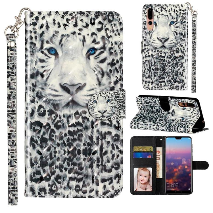 White Leopard 3D Leather Phone Holster Wallet Case for Huawei P20 Pro