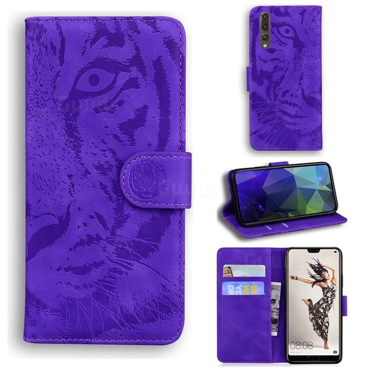 Intricate Embossing Tiger Face Leather Wallet Case for Huawei P20 Pro - Purple
