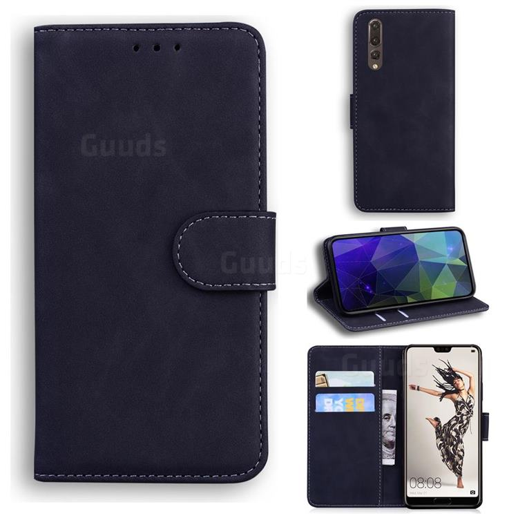 Retro Classic Skin Feel Leather Wallet Phone Case for Huawei P20 Pro - Black