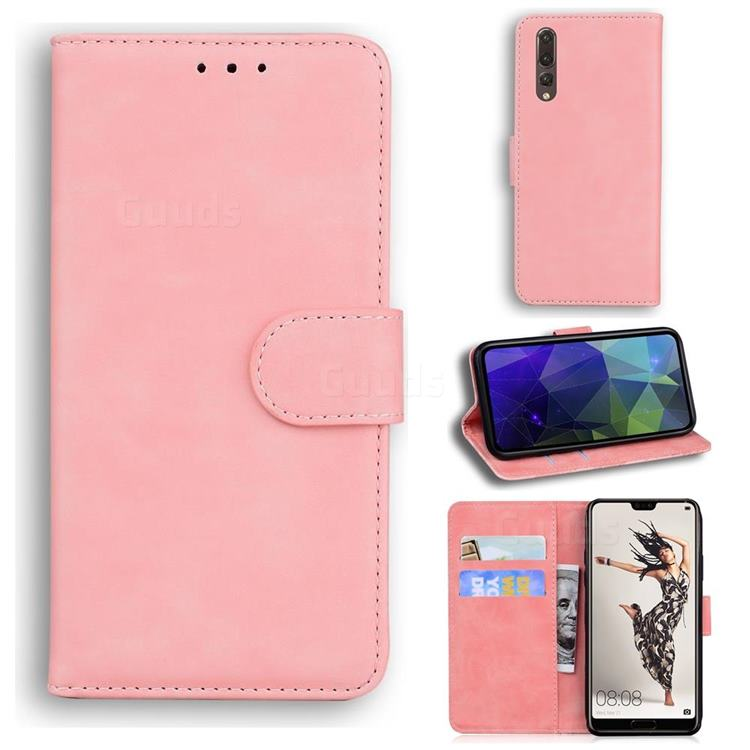 Retro Classic Skin Feel Leather Wallet Phone Case for Huawei P20 Pro - Pink