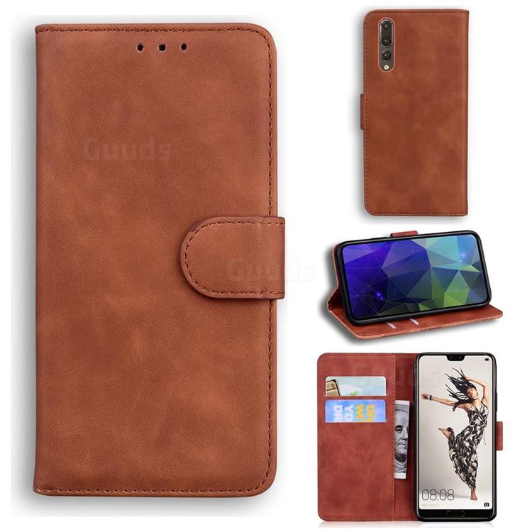 Retro Classic Skin Feel Leather Wallet Phone Case for Huawei P20 Pro - Brown