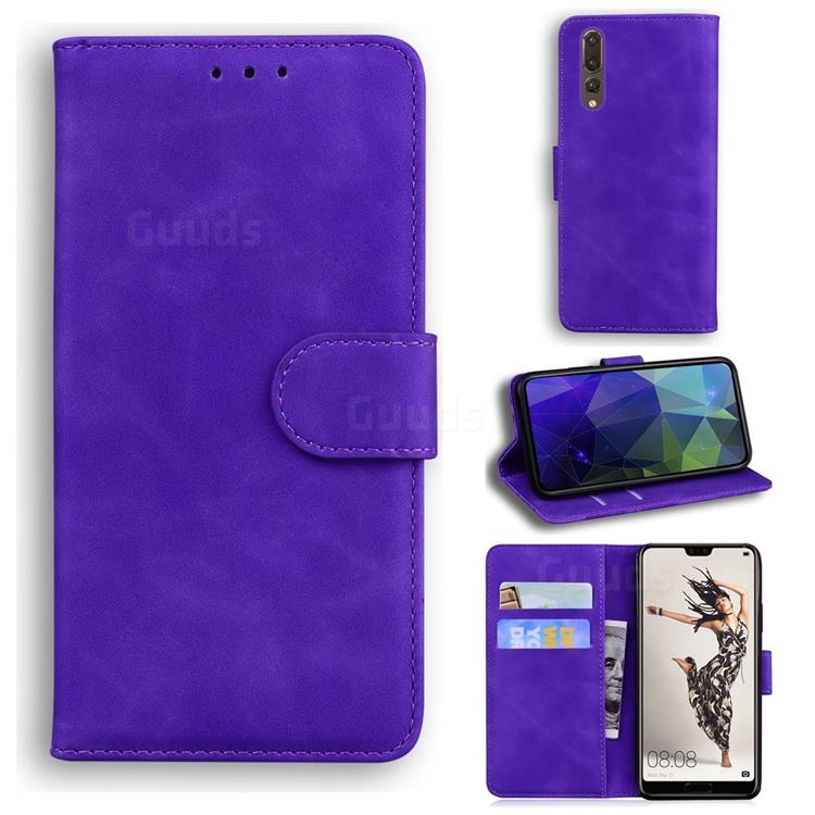 Retro Classic Skin Feel Leather Wallet Phone Case for Huawei P20 Pro - Purple