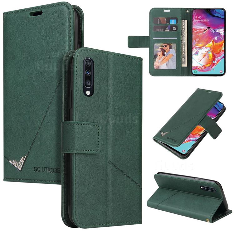 GQ.UTROBE Right Angle Silver Pendant Leather Wallet Phone Case for Huawei P20 Pro - Green
