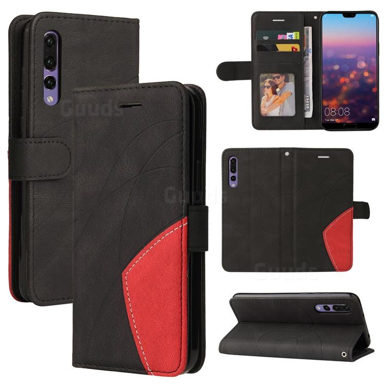 Luxury Two-color Stitching Leather Wallet Case Cover for Huawei P20 Pro - Black