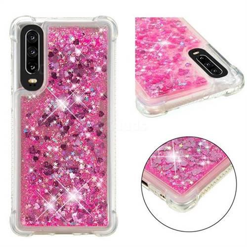 Dynamic Liquid Glitter Sand Quicksand TPU Case for Huawei P30 - Pink Love Heart