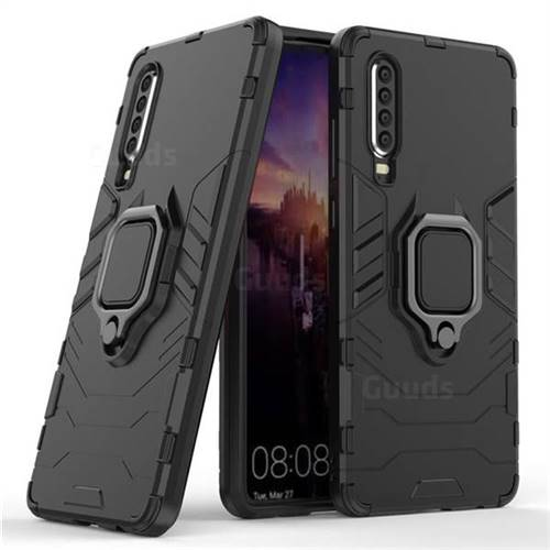 Black Panther Armor Metal Ring Grip Shockproof Dual Layer Rugged Hard Cover for Huawei P30 - Black