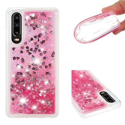 Dynamic Liquid Glitter Quicksand Sequins TPU Phone Case for Huawei P30 - Rose