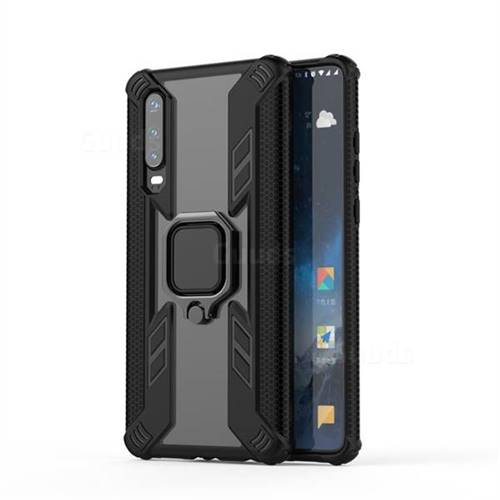 Predator Armor Metal Ring Grip Shockproof Dual Layer Rugged Hard Cover for Huawei P30 - Black