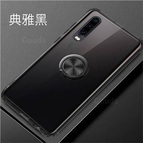 Anti-fall Invisible Press Bounce Ring Holder Phone Cover for Huawei P30 - Elegant Black