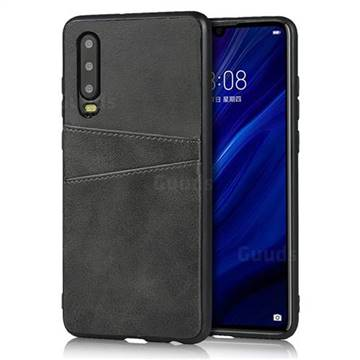 Simple Calf Card Slots Mobile Phone Back Cover for Huawei P30 - Black