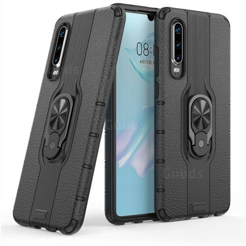 Alita Battle Angel Armor Metal Ring Grip Shockproof Dual Layer Rugged Hard Cover for Huawei P30 - Black