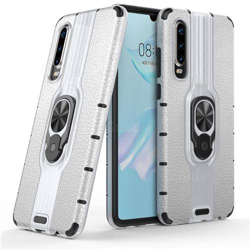 Alita Battle Angel Armor Metal Ring Grip Shockproof Dual Layer Rugged Hard Cover for Huawei P30 - Silver