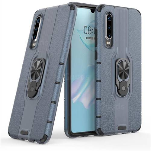 Alita Battle Angel Armor Metal Ring Grip Shockproof Dual Layer Rugged Hard Cover for Huawei P30 - Blue