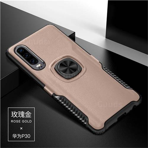 Knight Armor Anti Drop PC + Silicone Invisible Ring Holder Phone Cover for Huawei P30 - Rose Gold