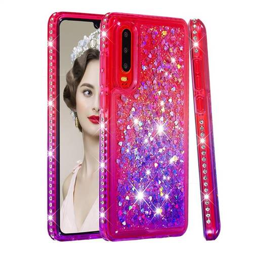Diamond Frame Liquid Glitter Quicksand Sequins Phone Case for Huawei P30 - Pink Purple