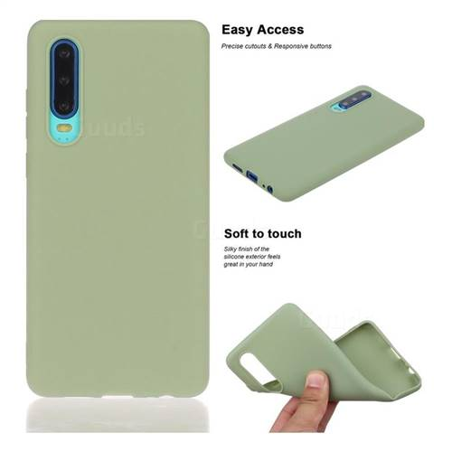 Soft Matte Silicone Phone Cover for Huawei P30 - Bean Green