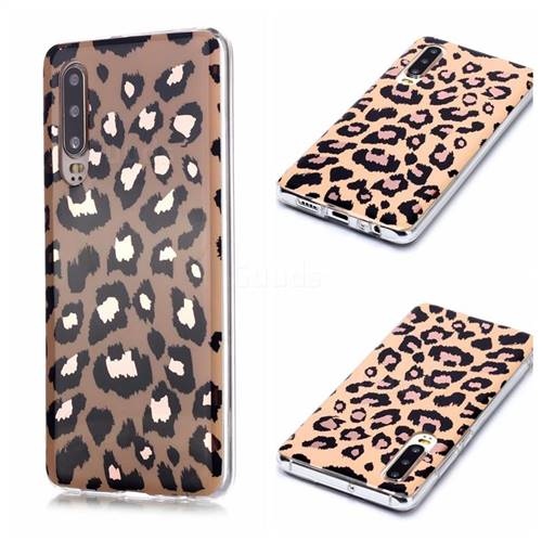 Leopard Galvanized Rose Gold Marble Phone Back Cover for Huawei P30